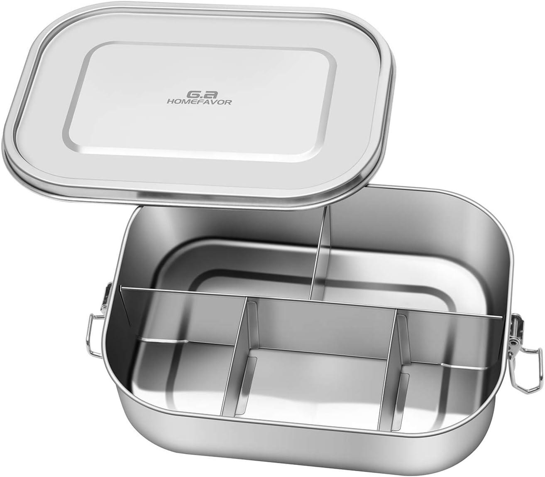 G.a HOMEFAVOR Fiambrera de 1400m Fiambrera Acero Inoxidable Caja de Almuerzo con 5 Compartimentos de pequeña tamaño