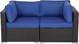 Kinbor Black Wicker Patio Loveseat 2 PCS Outdoor Garden Furniture Set Rattan Corner Sofa with Thick Dark Blue Cushions