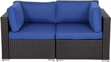 Kinsunny Wicker Loveseats Patio Sectional Corner Sofa All Weather Rattan Outdoor Thick Sofa Set