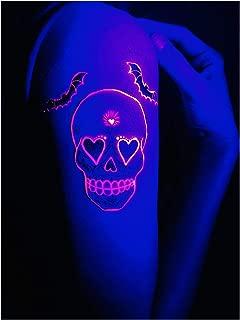 d'IRIS studio Halloween Makeup Death Skull Temporary Tattoos for Neon Glow Party