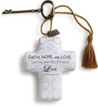 DEMDACO Greatest of These is Love Cross Shaped Resin Keepsake Decoration 4 x 3 Inch, Grey Damask