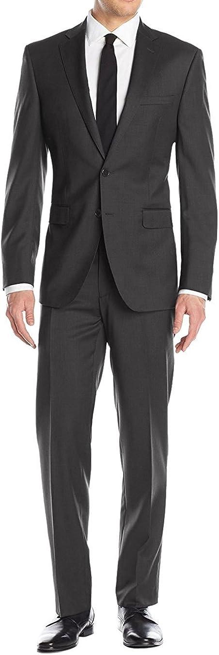 Luciano Natazzi Men's 2 Button Birdseye Two Piece Suit Modern Fit Jacket Pant