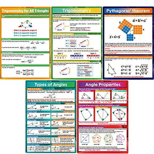 5 Pieces Math Geometry Posters Educational Angles Triangles Trigonometry Math Classroom Decor for Middle School and High School Classroom Decorations or Homeschool Supplies,16 x 11 Inch (colorful, 5)