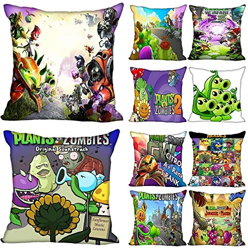 QIANMA Plants vs Zombies toy 10pcs/lot New Anime Plants Vs Zombies Pillowcase Bedroom Home Decorative Gift Pillow Cover Square Zipper Pillow Cases Satin Soft