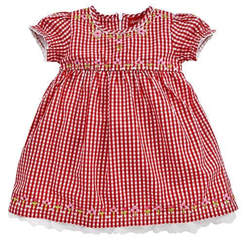 Alpenglück Baby-Trachtenkleid aus Baumwolle Gr. 92 I Schönes Mädchen-Kleid in Rot-Weiß I Karierte Trachtenmode für Mädchen I Kinderdirndl aus Webware I Wunderschöne & Bequeme Kinderbekleidung