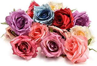 fake flowers heads in Bulk Wholesale Silk Flower Dahlia Rose Artificial Flower Head Wedding Decoration DIY Wreath Gift Box Scrapbooking Craft Fake Flower 7pcs 7CM(Multicolor)