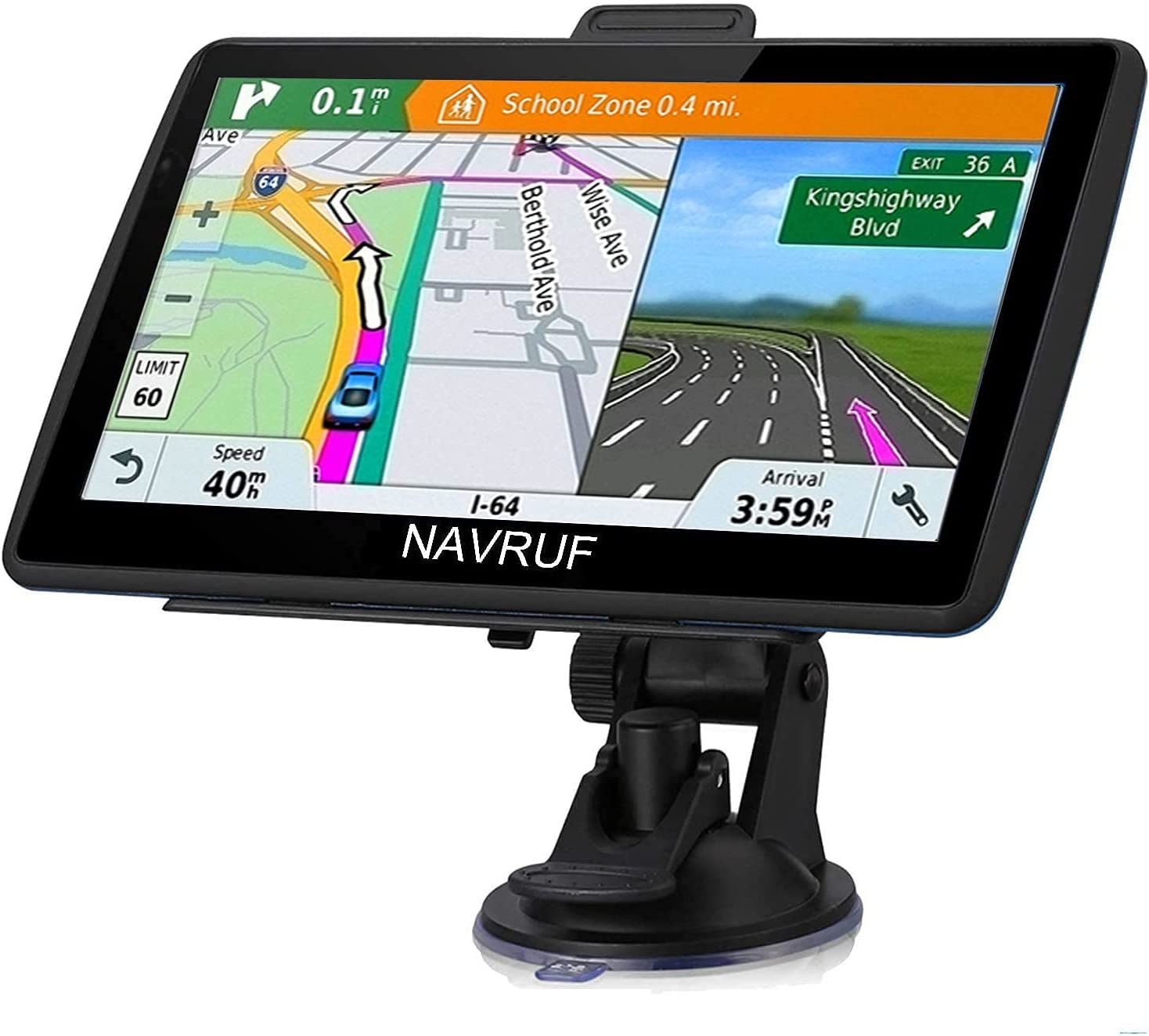 Car GPS Navigation, 7-inch 8GB HD Touch Screen GPS Navigation System pre-Installed North America map, Lifetime map Free Update, Voice Turn Direction, Driving Alarm
