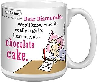 Tree-Free Greetings Extra Large 20-Ounce Ceramic Coffee Mug, Aunty Acid Chocolate Cake