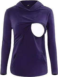 SUNNYBUY Women's Long Sleeve Nursing Top Shirt Maternity Breastfeeding Tops Clothes Casual Sweatshirt with Pocket