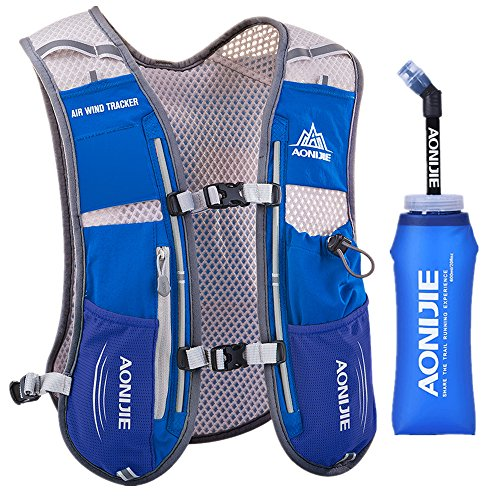 Lovtour Premium Running Race Hydration Vest Pack for Marathon, Cycling, Hiking with 20 Oz(600ml) BPA-Free TPU Soft Water Bottle As Gift (Blue)