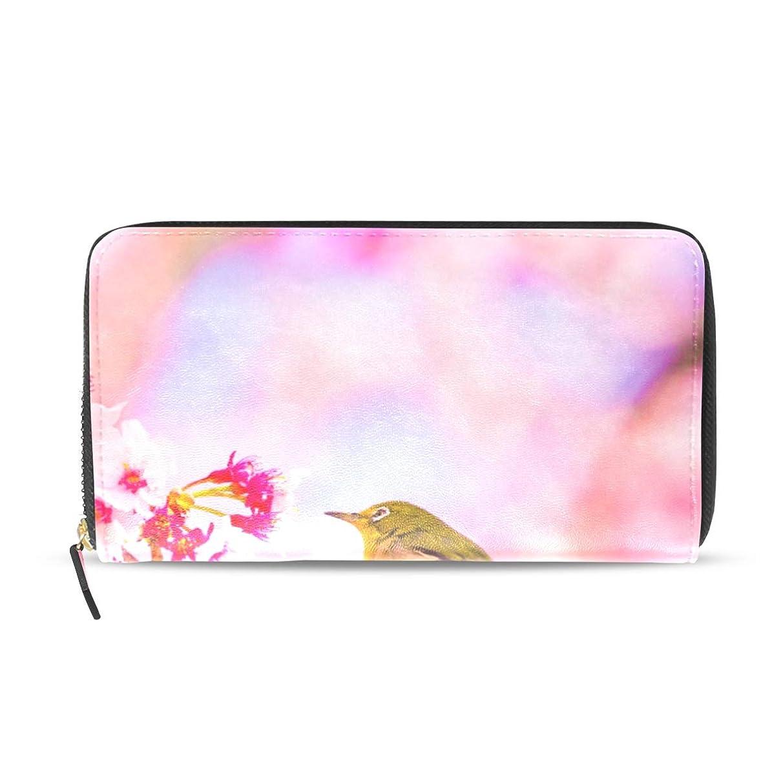 物質正確さみなさん旅立の店 長財布 人気 レディース メンズ 大容量多機能 二つ折り ラウンドファスナー PUレザー さくら 桜の花と鳥柄 ウォレット ブラック