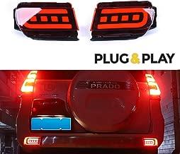 GTINTHEBOX 3D Optic Red LED Rear Bumper Reflectors Brake Tail Light Lamps Kit For TOYOTA Land Cruiser PRADO FJ150 2010 2011 2012 2013 2014 2015 2016 2017 2018