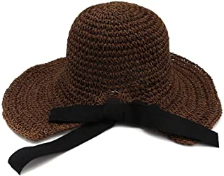 Handmade Crochet Spring Summer Straw Hat Women Folding Outdoor Sunscreen Beach Hat Visor Big Hat` TuanTuan (Color : Maroon, Size : 56-58CM)