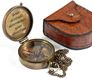 """Calyron Brass Pocket Magnetic 2"""" Compass with Chain Nautical Boat Decor Antique Steampunk Style Engraved Gifts Directional..."""