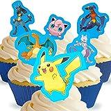 12 x Vorgeschnittene und Essbare Pokemon Aufrecht Stehende Kuchen Topper (Tortenaufleger, Bedruckte Oblaten, Oblatenaufleger) -