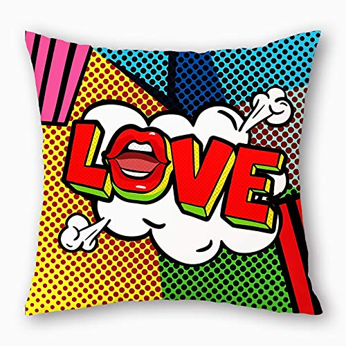 Colorful Marvel Super Hero Red Lip Love Throw Pillow Case Cushion Cover Pop Art Comic Book Exclamation Decorative Square 18' x18' Pillowcase (Love)