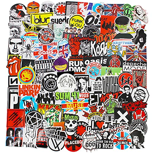 Band Stickers Pack Rock Roll Stickers Decals Laptop Cars Guitar Bumper Punk Classic Vinyl Waterproof Graffiti 100pcs