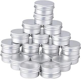 Lote de 20tarros vacíos de 15ml, aluminio plateado, recipiente de cosmética para muestras de bálsamos labiales o cosméticos, cierre de rosca