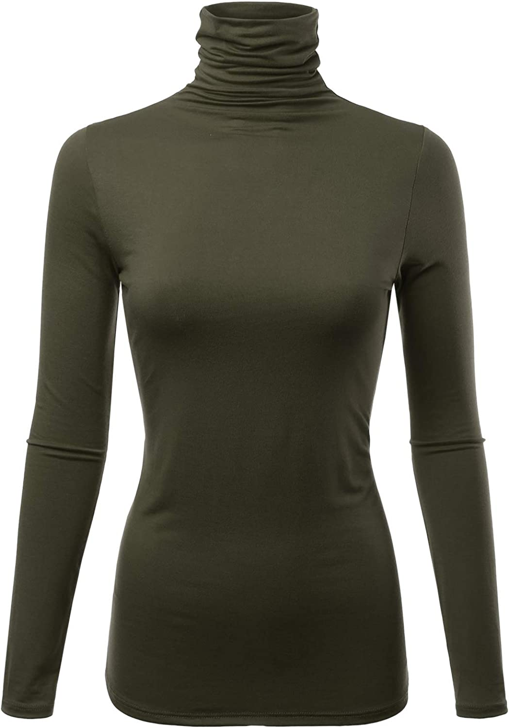 FASHIONOLIC Womens Premium Long Sleeve Turtleneck Lightweight Pullover Top Sweater (S-3X, Made in USA)