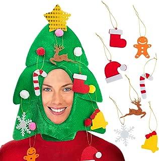 DomeStar Christmas Tree Hat with 7PCS Ornaments, Funny Christmas Hat, Novelty Santa Hat Holiday Theme Hat