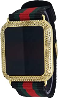 Techno Pave 14K Gold Plated Iced Out White Stones Touch Screen Luxury Designer Style Nylon Band Wrist Watch