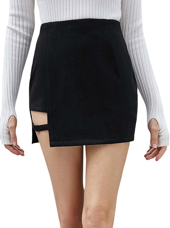 Floerns Women's Summer Suede Cut Out Asymmetrical Hem High Waist Mini Skirt