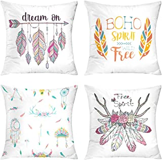 Boho Throw Pillow Covers,Set of 4 18X18 with Ethnic Arrow and Feathers Boho Dream Free Spirit Hipster Fashion Blue Yellow Red Colorful Chic Summer Wild Throw Pillow Case Cushion for Sofa Livingroom