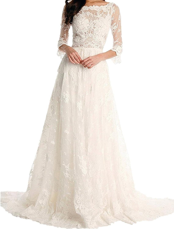 LISA.MOON Women's Vintage Lace Wedding Dresses Half Sleeve ALine Beach Bridal Gown