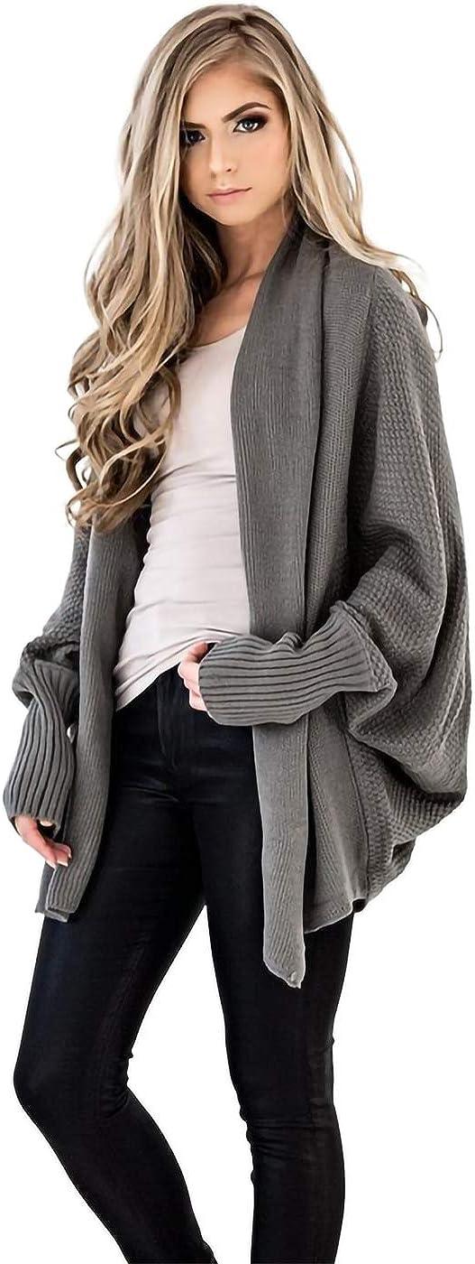 Anna-Kaci Women's Batwing Sleeve Knit Wrap Sweater Oversized Open Front Kimono Cardigan Outwear