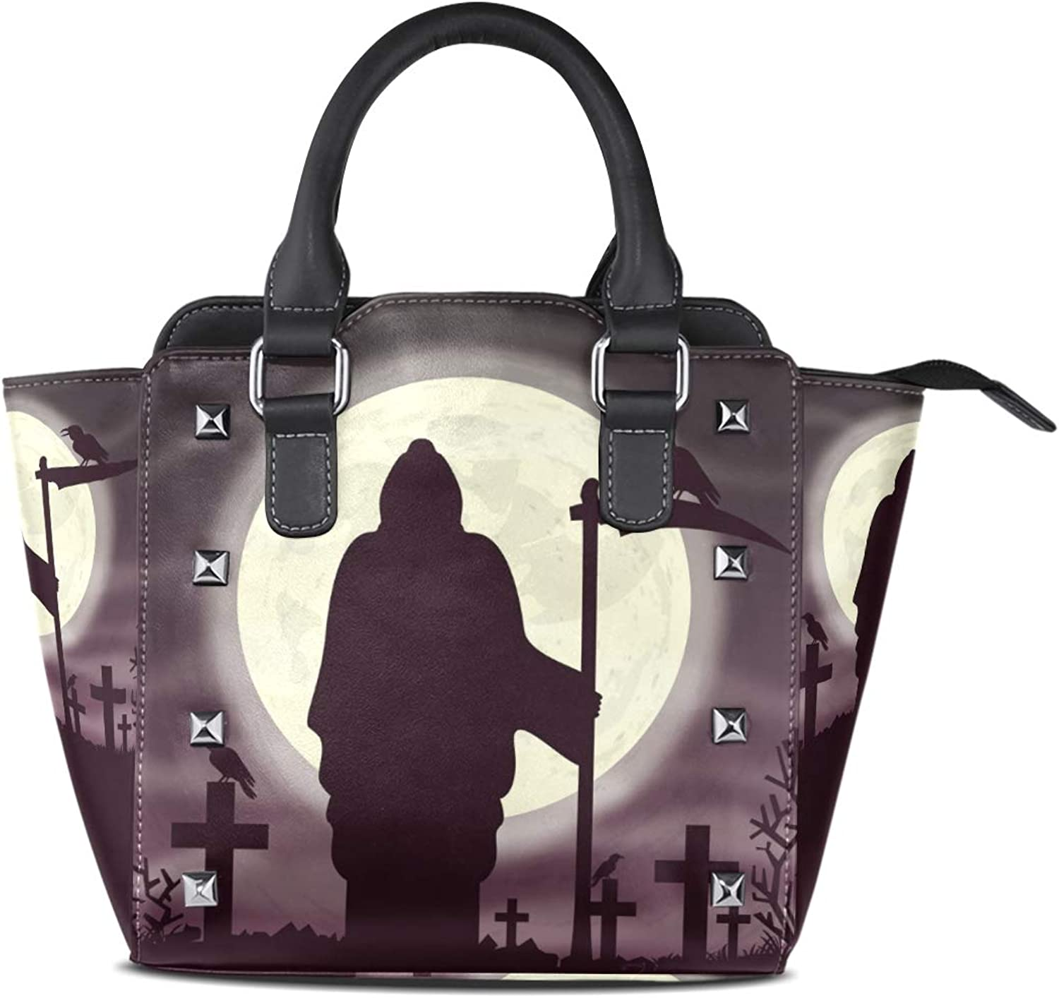 Leather Witch Bird Cemetery Rivet Handbags Tote Bag Shoulder Satchel Purse for Women Girls