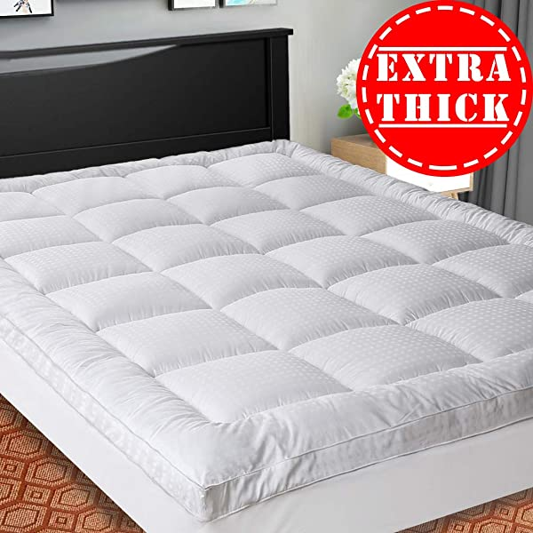 SOPAT Extra Thick Mattress Topper Queen Cooling Mattress Pad Cover Pillow Top Construction 8 21Inch Deep Pocket Double Border Down Alternative Fill Breathable