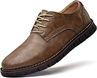 Men`s Dress Shoes Genuine Leather Oxford Classic Formal Causal Shoes Round Toe Lace up Loafers Walk Business Oxford