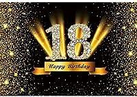 Zhyガールズ18歳の誕生日の背景7x5ftポリエステル生地18歳の誕生日の写真の背景キラキラ写真プリンセス18歳の誕生日パーティーの装飾誕生日Bash背景スタジオの小道具