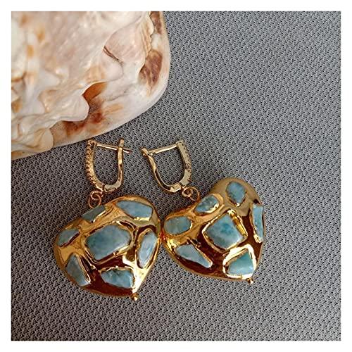WERWER Pendientes Natural Blue Pave Corazón En Forma de Color Amarillo Color Dangle Palanca Atrás Joyería