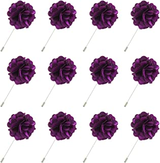 Men's Shiny Lapel Flower Handmade Boutonniere Pin for Suit Begonia (16 Colors)