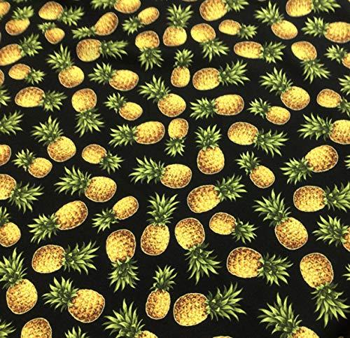 Black Pineapple Hawaiian Print Fabric Sold by The Yard 100% Cotton Poplin