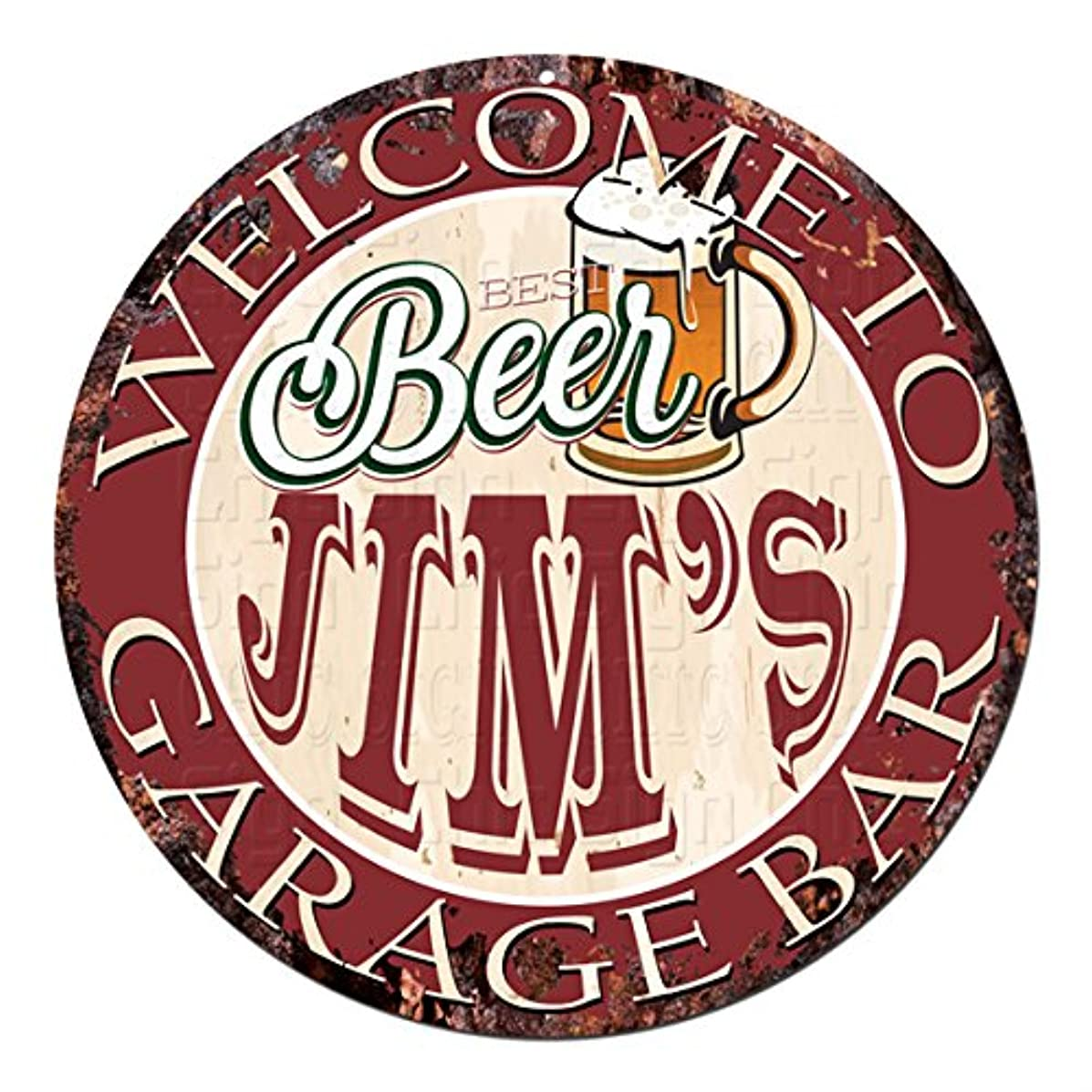 Welcome to Best Beer JIM'S GARAGE BAR Chic Tin Sign Rustic Shabby Vintage style Retro Kitchen Bar Pub Coffee Shop man cave Decor Gift Ideas