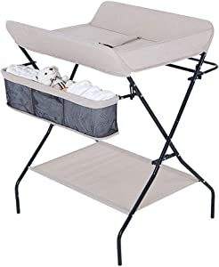 GOHHK Portable Folding Baby Changing Table Massage Units  Diaper Station Nursery Organizer for Infant Cross Leg Style  Champagne Color