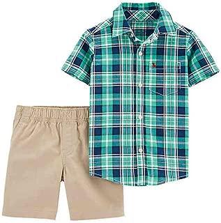 Carter's 2-Piece Green Plaid Button-Down Shirt and Khaki Shorts Set