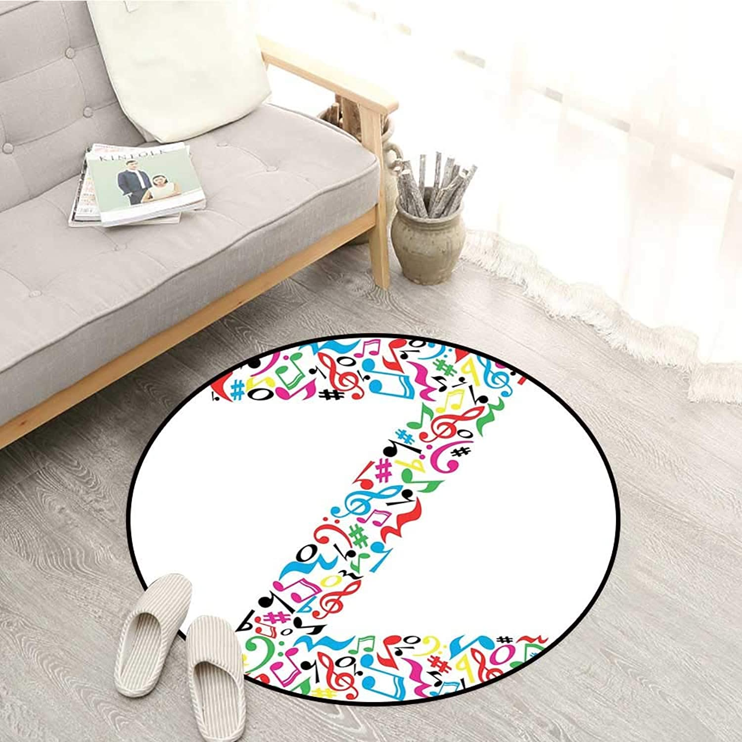 Letter Z Kids Rugs Collection of Vibrant Musical Signs and Notes in Shape of Capital Z Alphabet Font Sofa Coffee Table Mat 4'11  Multicolor