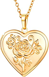 Women Girls Photo Locket Pendant Heart/Round Shaped Fashion Jewelry 18K Gold Plated Necklace, with Custom Engrave Service