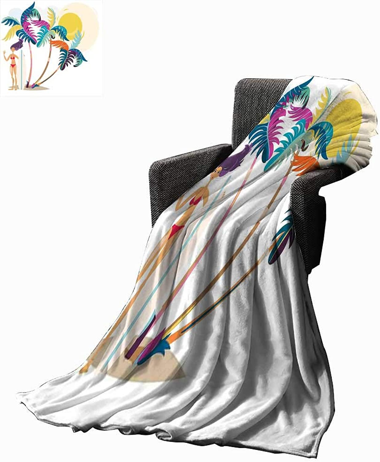 RenteriaDecor Surf Digital Printing Blanket Cute Cartoon Surf Girl On Beach Abstract Illustration Summertime Vacation On Seaside 60 x50 ,Super Soft and Comfortable,Suitable for Sofas,Chairs,beds
