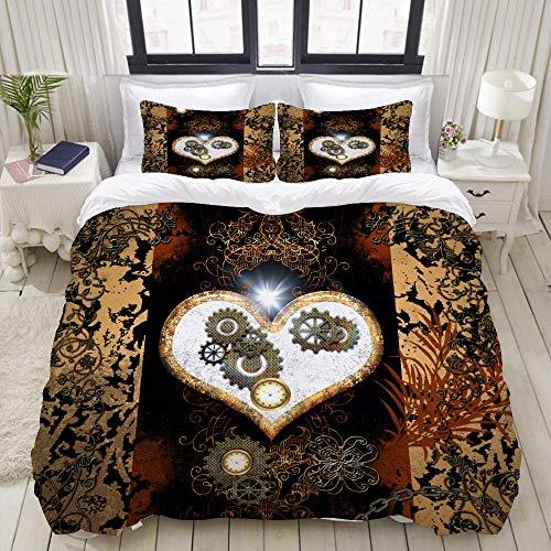 Juego de Funda nórdica, Relojes Steampunk Beautiful Heart Gears, Juego de Cama Decorativo Colorido de 3 Piezas con 2 Fundas de Almohada