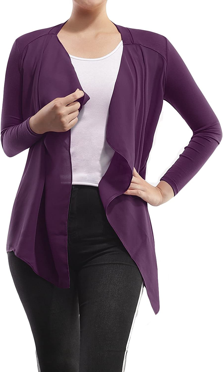 AMORE ALLFY Women's Solid Chiffon Front Long Sleeve Cardigan Eggplant X-Large