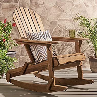 Great Deal Furniture Muriel Outdoor Natural Finish Acacia Wood Adirondack Rocking Chair