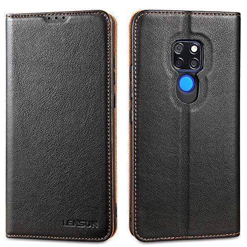 LENSUN Echtleder Hülle für Huawei Mate 20, Leder Handyhülle Magnetverschluss Kartenfach Handytasche kompatibel mit Huawei Mate 20(6,53 Zoll) – Schwarz(M20-DC-BK)