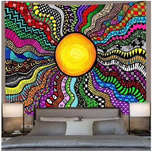 Tapiz Sol y Luna Tapiz Psicodélico Ocean Wave Art Tapices para colgar en la pared para sala de estar Dormitorio Hogar Dormitorio Decoración 150x200cm