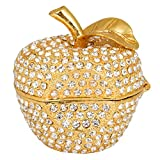 QIFU-Hand Painted Enameled Gold Apple Diamond Decorative Hinged Jewelry Trinket Box Unique Gift for Home Decor