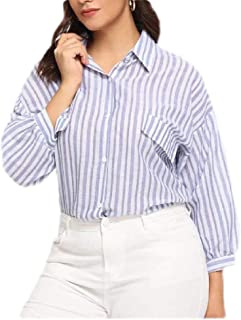 Tinyshine Womens Casual Plus Size Lapel Neck Striped Curved Hem Button Down Shirts