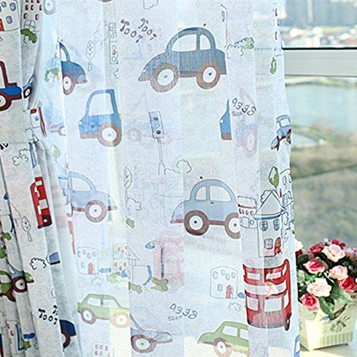 adaada Cartoon-Auto-Stil Kinder vorhänge mit Kräuselband, Tüll vorhänge für Kinderzimmer,2er-Set(160cmX140cm,Tüllvorhang)